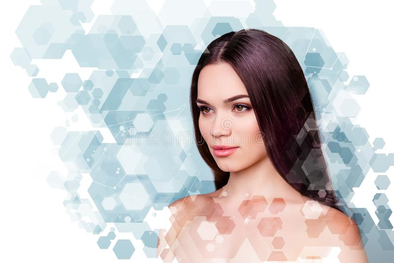 Wellbeing and wellness beauty and health concept. Coseup photo pretty she her young brunette woman looking fresh healthy stock images