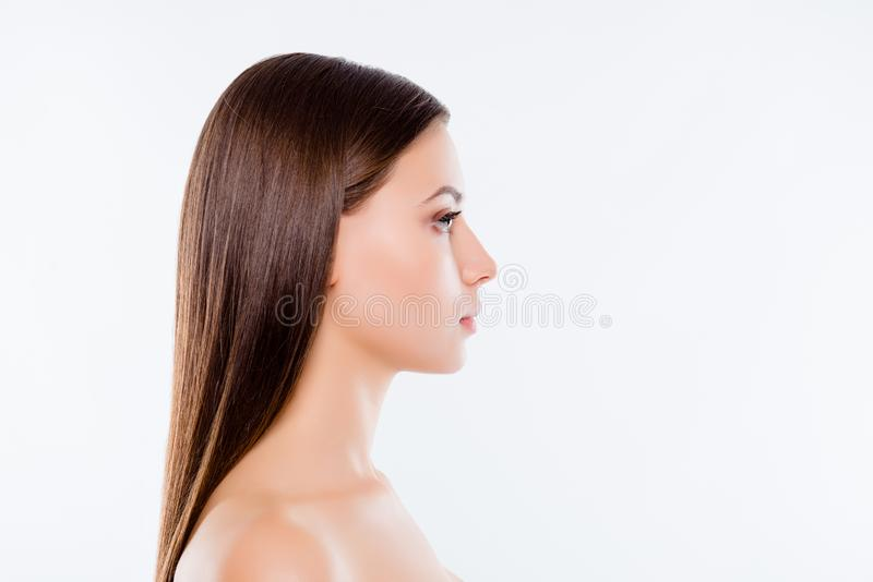Wellbeing wellness beauty health concept. Side view profile port stock photos