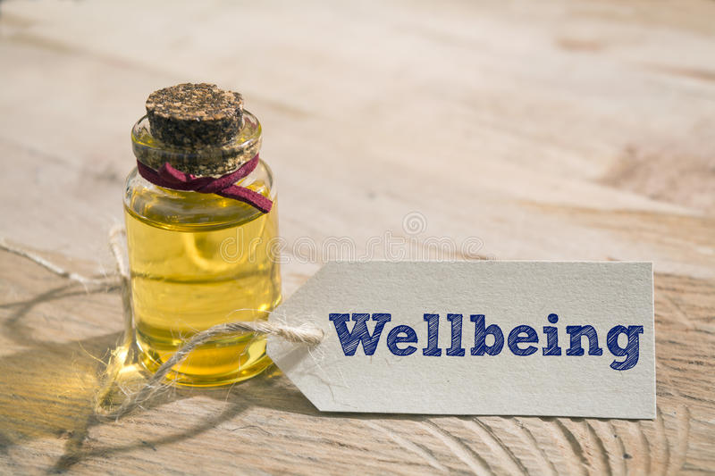 Wellbeing. Word written on a Looking card with essential oil stock image