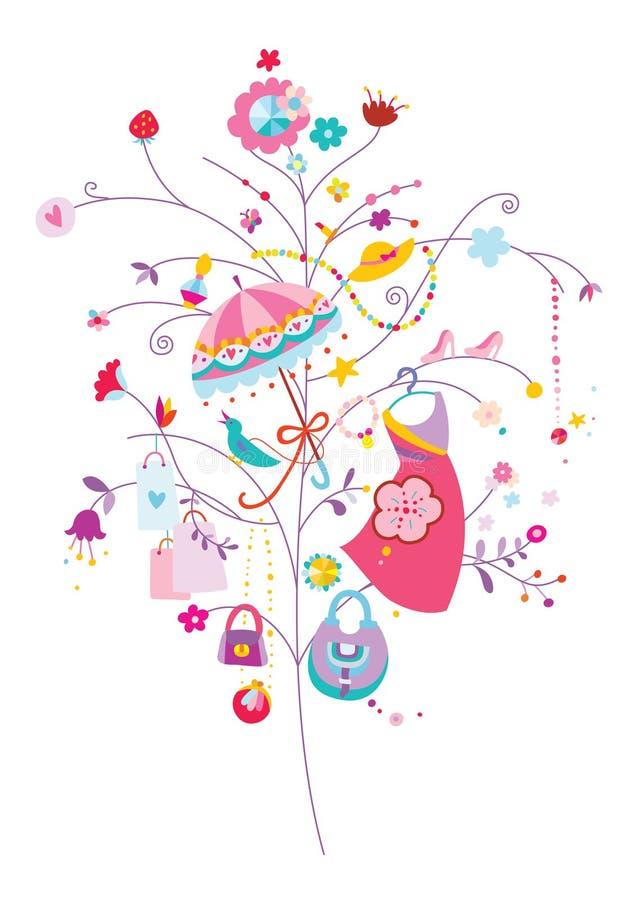 Wellbeingträd med modebeståndsdelar vektor illustrationer