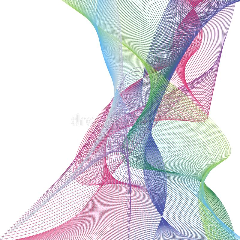 Welle der vielen farbigen Linien Abstrakte gewellte Streifen auf einem weißen Hintergrund lokalisiert Kreative Linie Kunst Vektor lizenzfreie abbildung