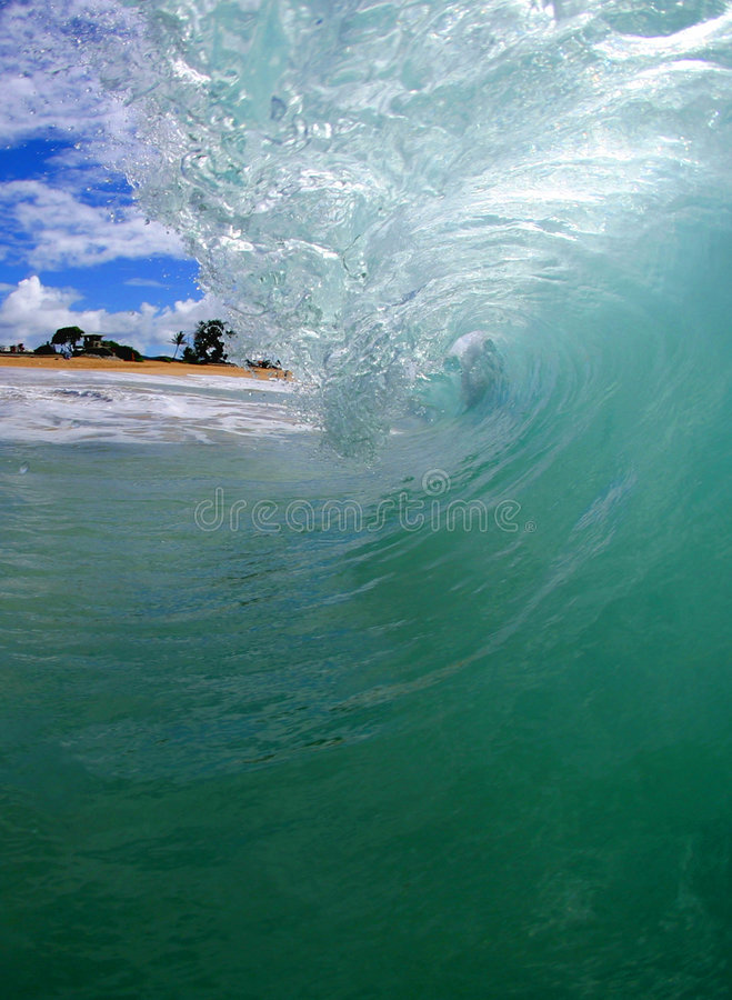 Welle in Hawaii lizenzfreie stockfotos