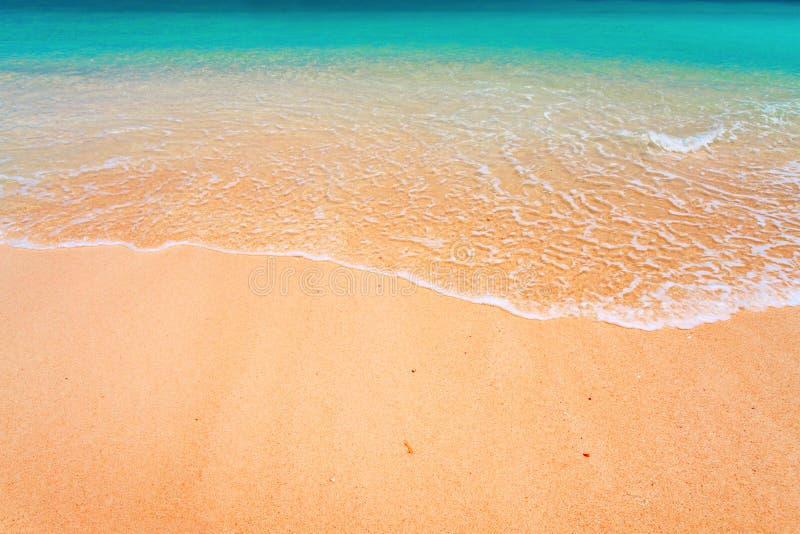 Welle und tropischer Strand stockbild