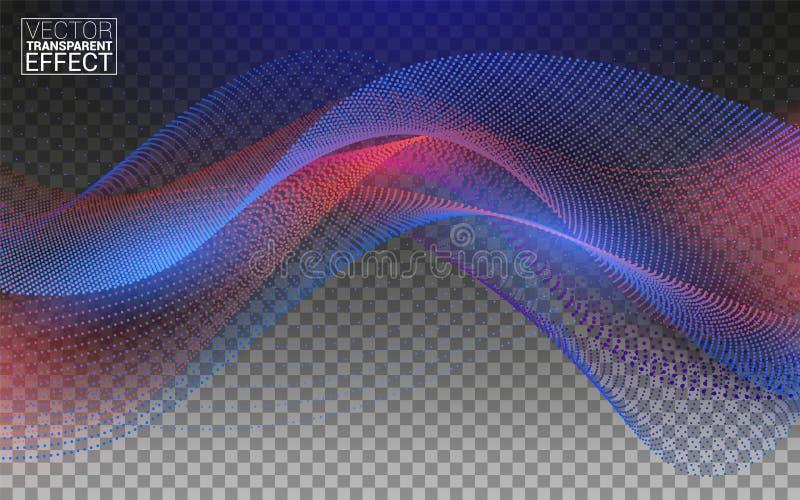 Welle von Partikeln Futuristische blaue rote Punkte mit einer dynamischen Welle Gro?e Daten Lokalisiert auf transparentem Hinterg lizenzfreie abbildung