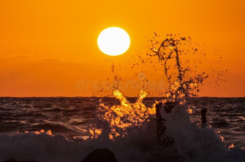Wellen bei Sonnenuntergang stockfotos