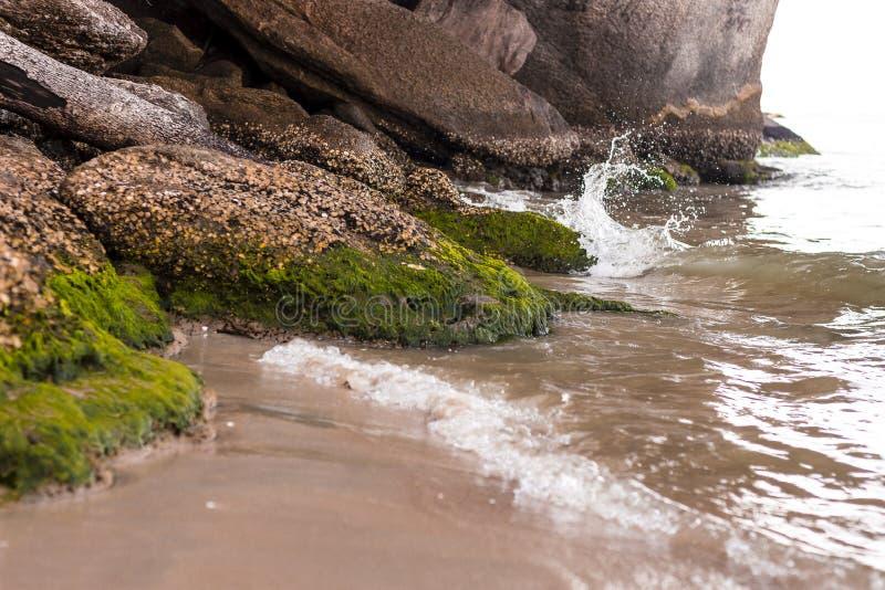 Wellen des Meeres, das die Felsen schlägt lizenzfreie stockfotos