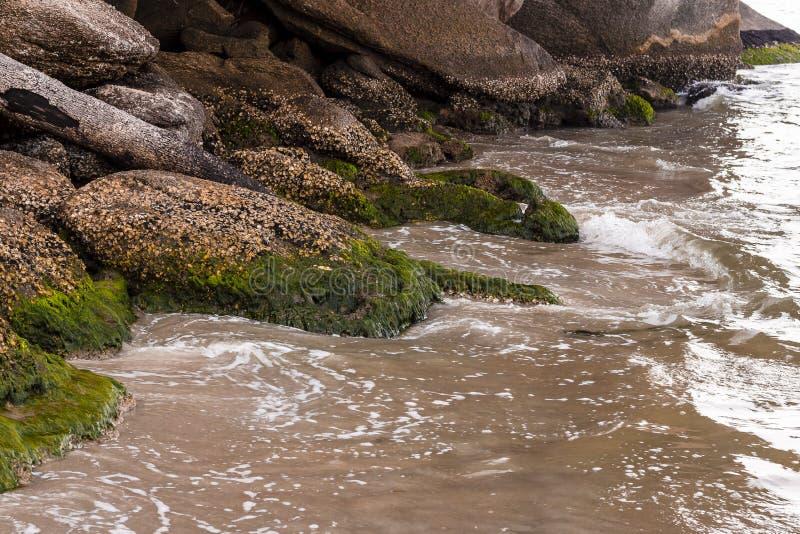 Wellen, die auf Steinen am Rand des Strandes zusammenstoßen stockfotos