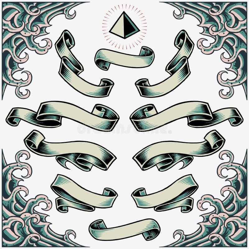 Wellen-Rahmen, Bänder und Pyramide lizenzfreie abbildung