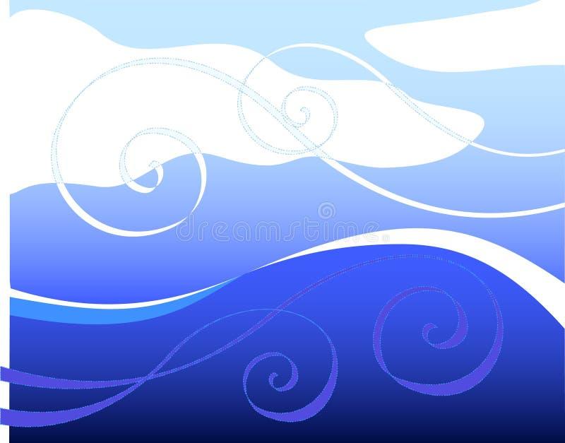 Wellen und Wind lizenzfreie abbildung