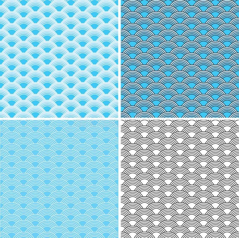 Wellen vier nahtlose blaue Muster stockbilder