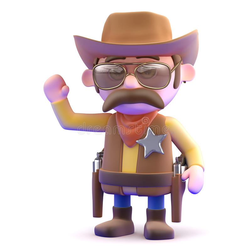 Wellenartig bewegen des Cowboys 3d stock abbildung