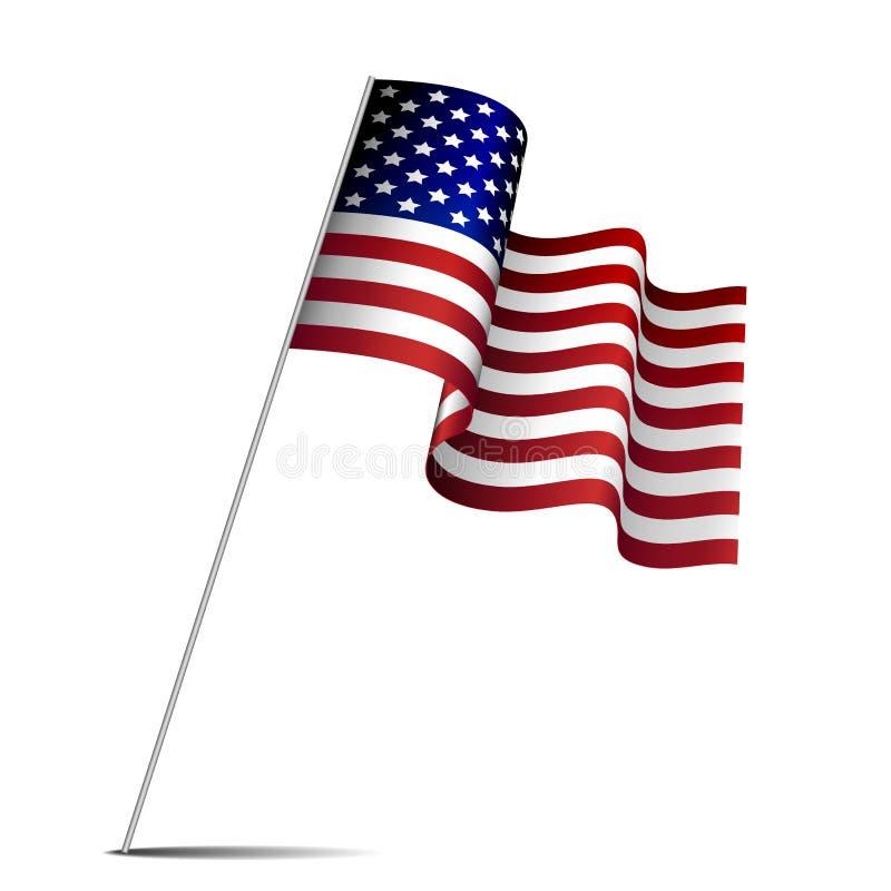 Wellenartig bewegende amerikanische Flagge vektor abbildung