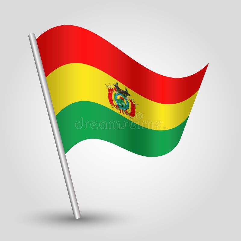 Wellenartig bewegende bolivianische Flagge des Dreiecks des Vektors auf schräg gelegenem silbernem Pfosten - Symbol von Bolivien  lizenzfreie abbildung