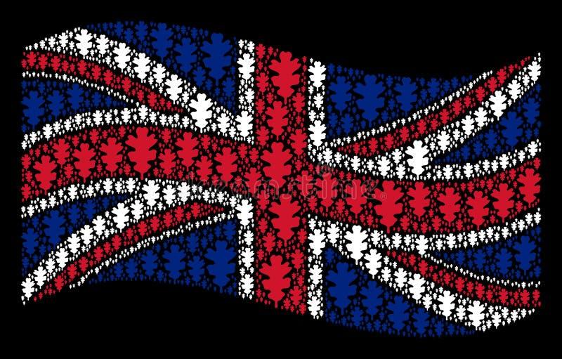 Wellenartig bewegende britische Flaggen-Collage von Eichen-Blatt-Einzelteilen stock abbildung