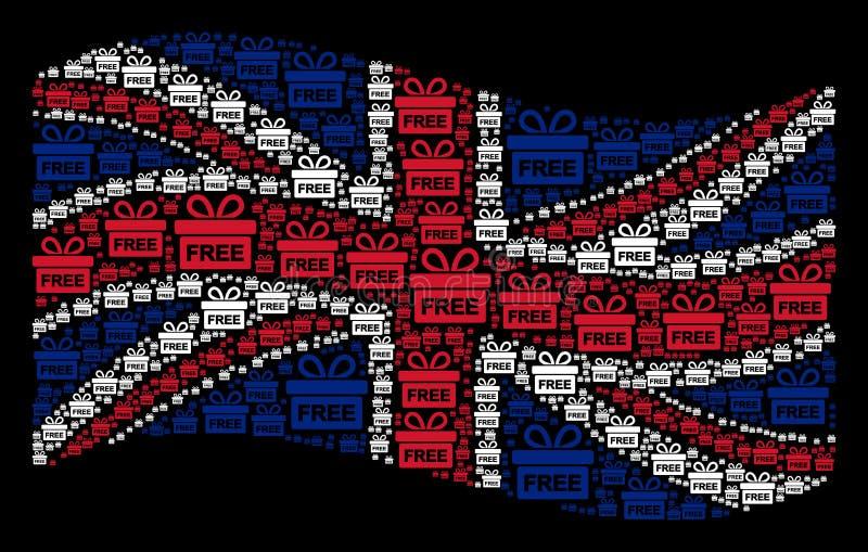 Wellenartig bewegende britische Flaggen-Collage von freien Geschenkartikeln lizenzfreie abbildung