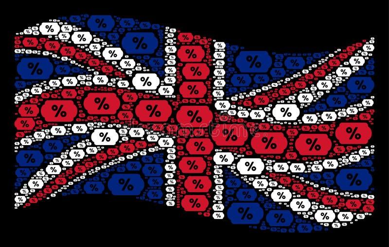 Wellenartig bewegende britische Flaggen-Collage von Rabatt-Kupon-Ikonen stock abbildung