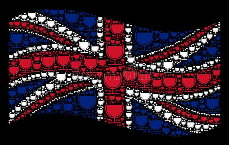 Wellenartig bewegende britische Flaggen-Collage von Wein-Glas-Ikonen stock abbildung