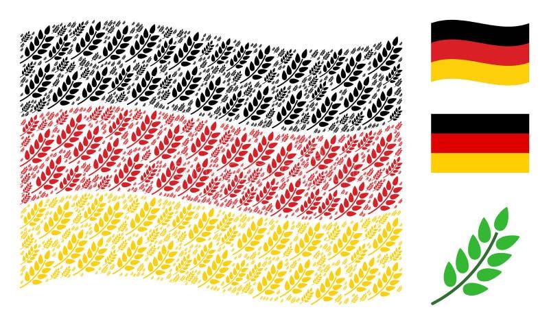Wellenartig bewegende deutsche Flaggen-Collage von Blatt-Niederlassungs-Ikonen lizenzfreie abbildung