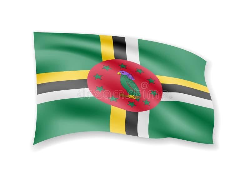 Wellenartig bewegende Dominica-Flagge auf Weiß Flagge im Wind stock abbildung