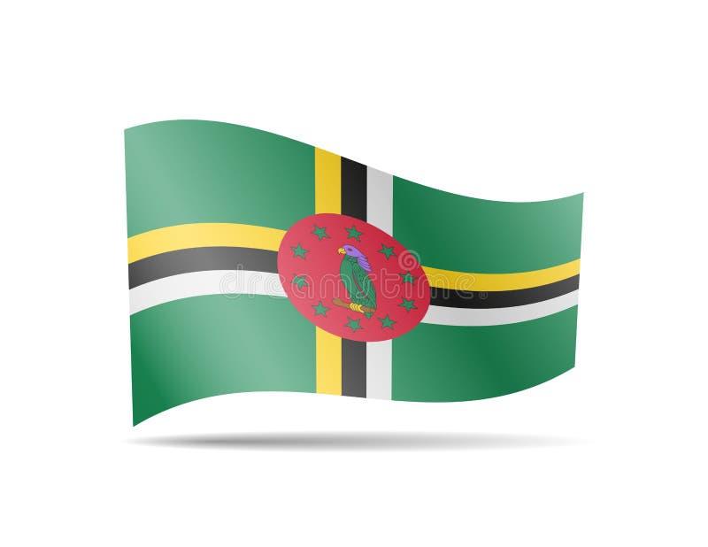 Wellenartig bewegende Dominica-Flagge im Wind Flagge auf weißer Illustration stock abbildung
