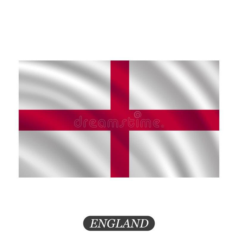Wellenartig bewegende England-Flagge auf einem weißen Hintergrund Auch im corel abgehobenen Betrag lizenzfreie abbildung