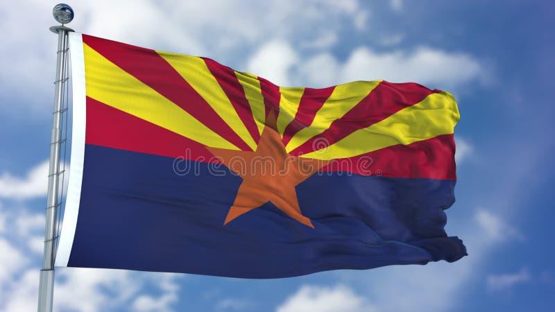 Wellenartig bewegende Flagge Arizonas lizenzfreie stockbilder