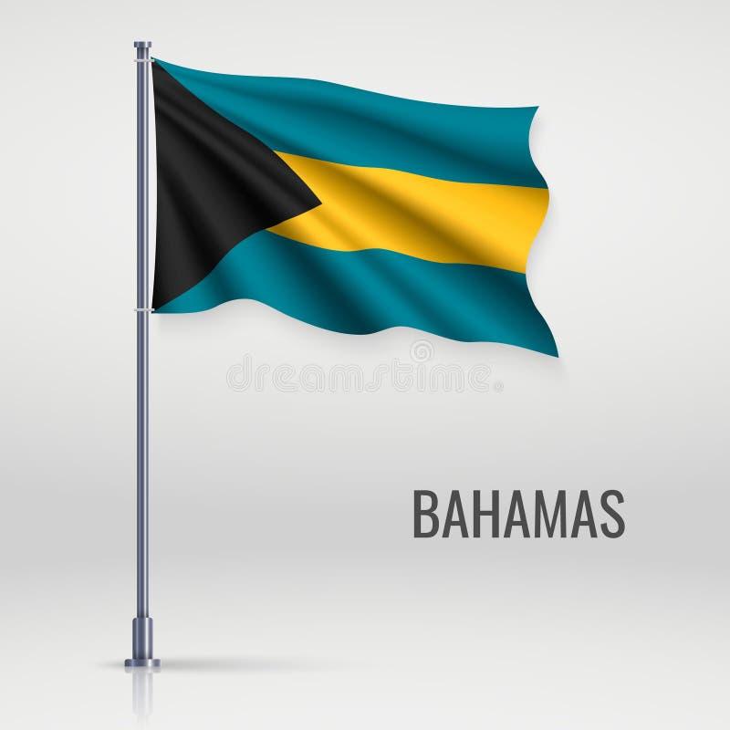 Wellenartig bewegende Flagge auf Fahnenmast lizenzfreie abbildung