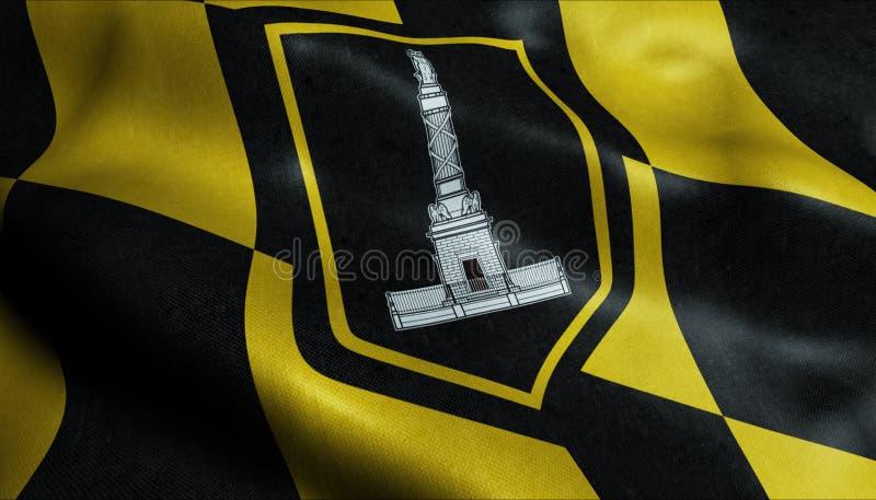 wellenartig bewegende Flagge 3D der Baltimore-Stadt-Nahaufnahme-Ansicht stock abbildung