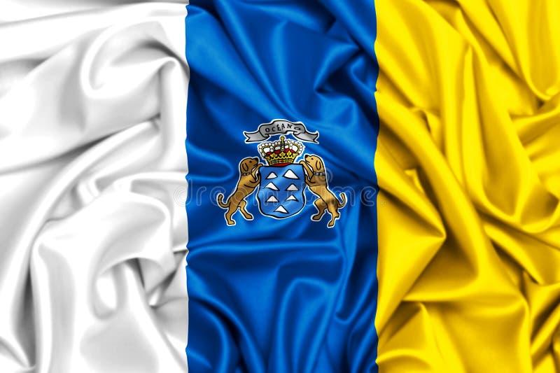 wellenartig bewegende Flagge 3d von Kanarischen Inseln vektor abbildung