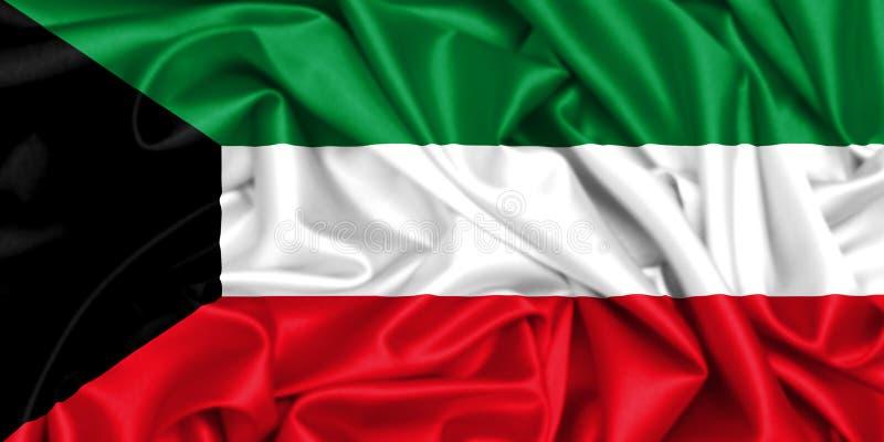 wellenartig bewegende Flagge 3d von Kuwait im Wind lizenzfreie abbildung