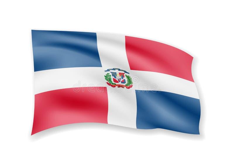 Wellenartig bewegende Flagge der Dominikanischen Republik auf Weiß Flagge im Wind vektor abbildung