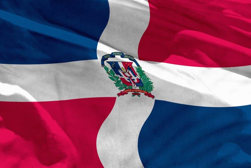 Wellenartig bewegende Flagge der Dominikanischen Republik für die Anwendung als Beschaffenheit oder Hintergrund, die Flagge flatt vektor abbildung