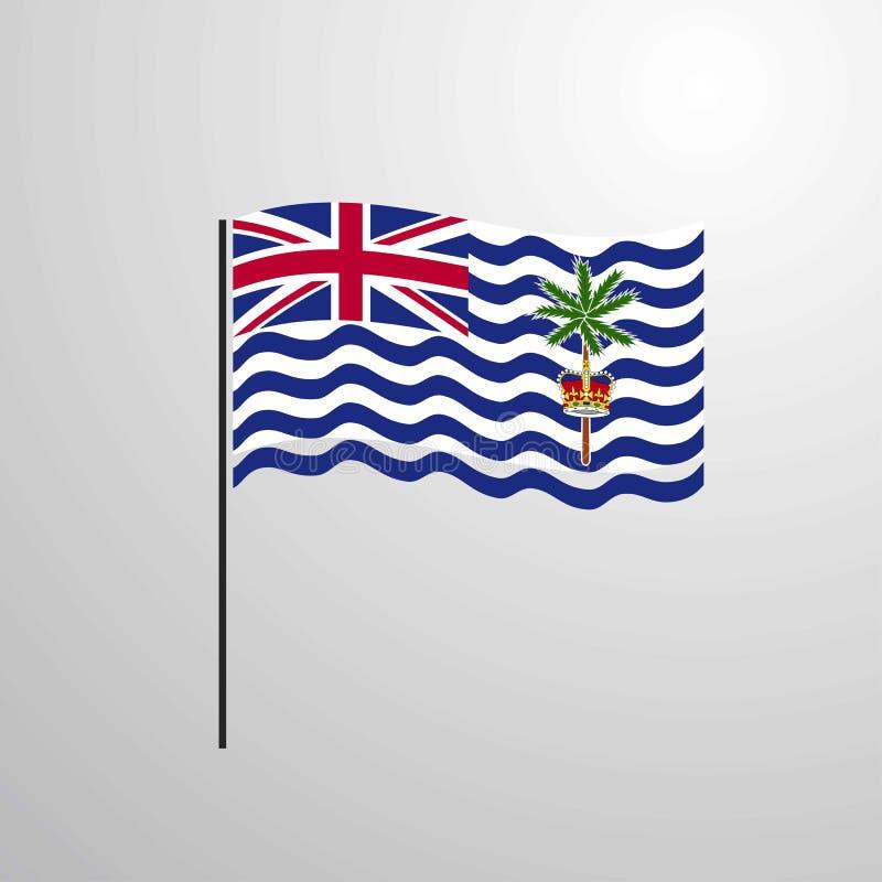 Wellenartig bewegende Flagge des Britischen Territoriums im Indischen Ozean stock abbildung