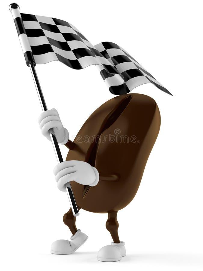 Wellenartig bewegende Flagge des Kaffeebohne-Charakters Renn vektor abbildung