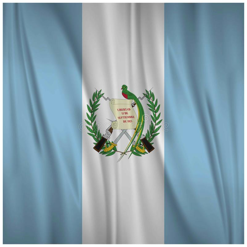 Wellenartig bewegende Flagge glücklichen Unabhängigkeitstags Guatemalas lizenzfreie abbildung