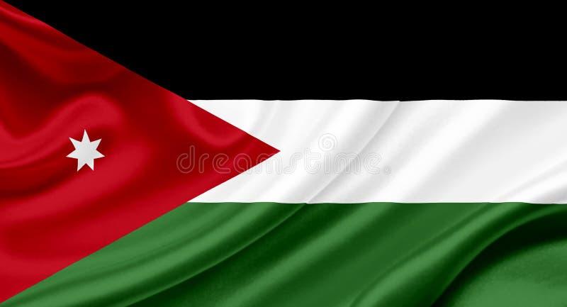 Wellenartig bewegende Flagge Jordaniens vektor abbildung