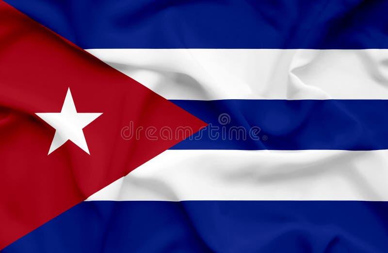 Wellenartig bewegende Flagge Kubas lizenzfreie abbildung