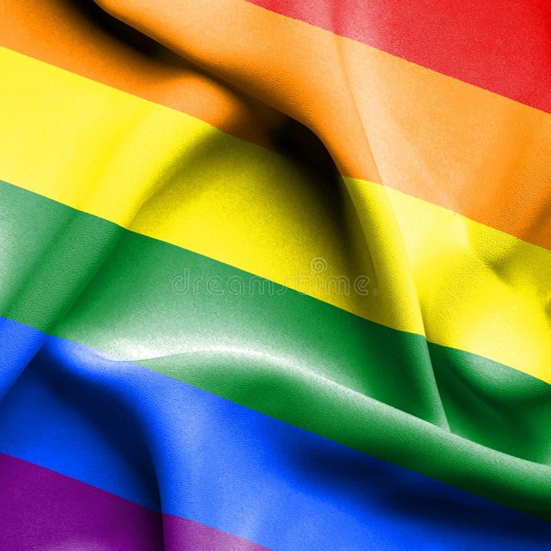 Wellenartig bewegende Flagge LGBT vektor abbildung