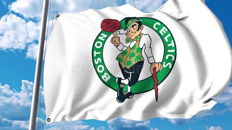 Wellenartig bewegende Flagge mit Boston-Celticsberufsteamlogo Redaktionelle Wiedergabe 3D stockfotografie