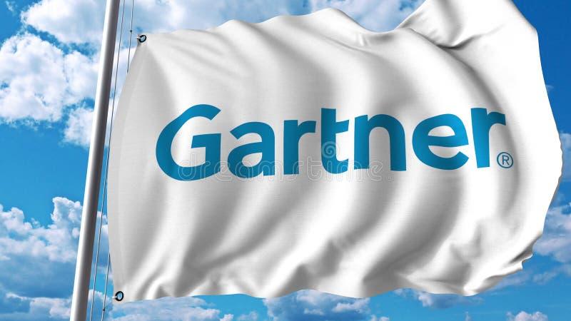 Wellenartig bewegende Flagge mit Gartner-Logo Wiedergabe Editoial 3D lizenzfreie abbildung