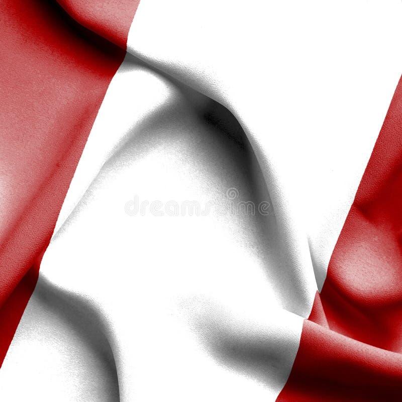 Wellenartig bewegende Flagge Perus lizenzfreie abbildung