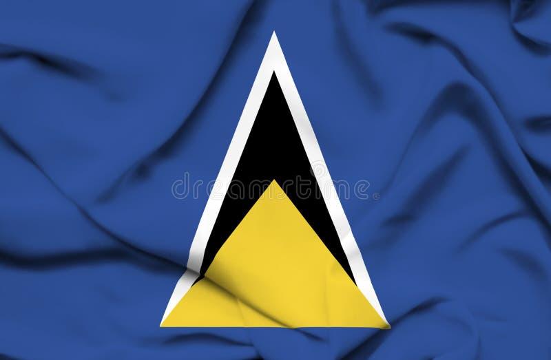 Wellenartig bewegende Flagge St Lucia vektor abbildung