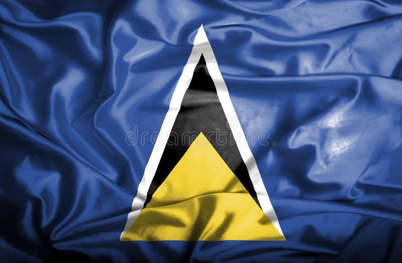 Wellenartig bewegende Flagge St Lucia stock abbildung