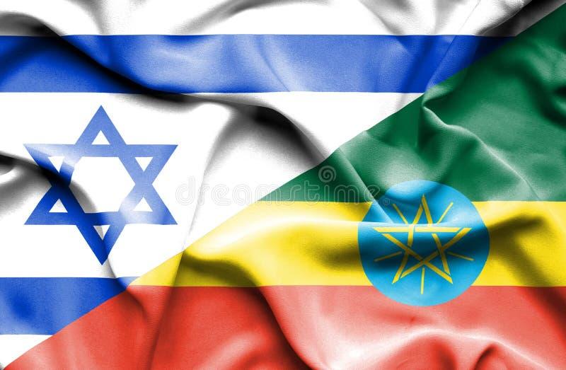 Wellenartig bewegende Flagge von Äthiopien und von Israel lizenzfreie abbildung