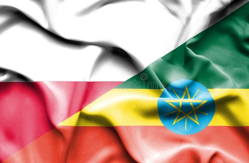 Wellenartig bewegende Flagge von Äthiopien und von Polen lizenzfreie abbildung