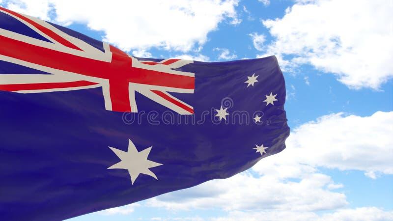 Wellenartig bewegende Flagge von Australien auf blauem bewölktem Himmel lizenzfreie stockfotos