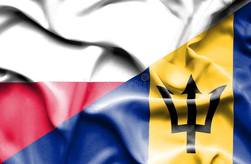 Wellenartig bewegende Flagge von Barbados und von Polen lizenzfreie abbildung