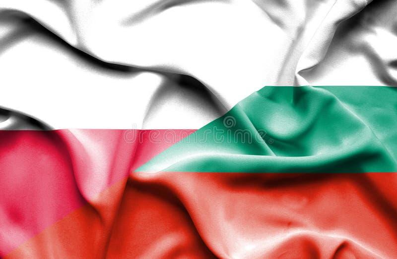 Wellenartig bewegende Flagge von Bulgarien und von Polen lizenzfreie abbildung