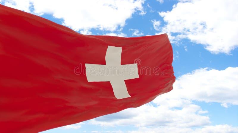 Wellenartig bewegende Flagge von der Schweiz auf blauem bewölktem Himmel lizenzfreies stockfoto