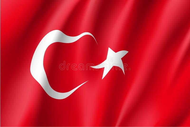 Wellenartig bewegende Flagge von der Türkei vektor abbildung